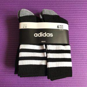 Adidas Mens 6 Pack Size 6-12 Large Crew Socks